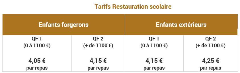 tarifs Restaurant Scolaire