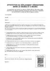 Attestation de Déplacement Dérogatoire COUVRE-FEU