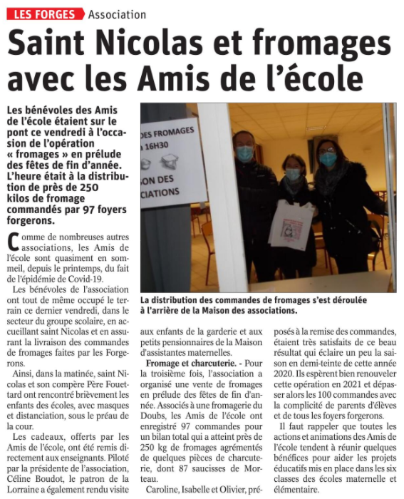 06 12 2020 AMIS ECOLE FROMAGE LES FORGES