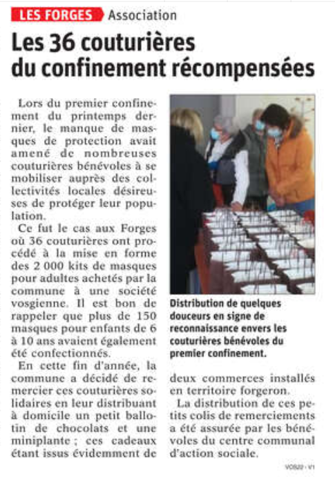 20 12 2020 COUTURIERES RECOMPENSES LES FORGES