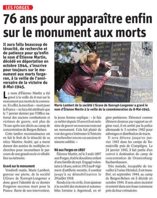 09 05 2021 GRAVURE MONUMENT LES FORGES